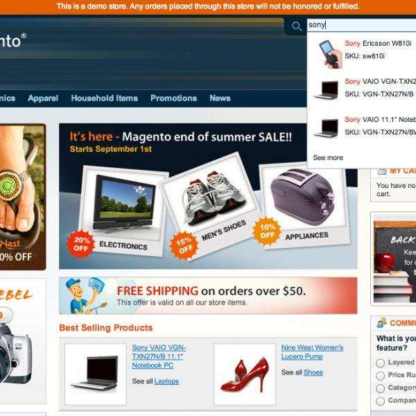 Ajaxowe podpowiedzi wyszukiwarki – Rapid Search - SmartMage - sklepy internetowe Magento