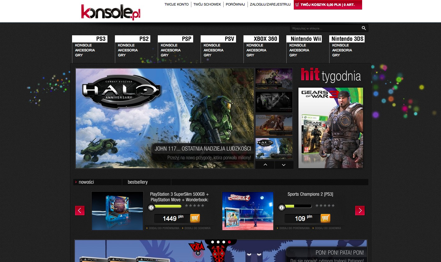 Projekt graficzny sklepu Magento konsole.pl - stona główna