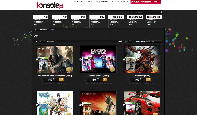 Projekt graficzny sklepu Magento konsole.pl - widok kategorii